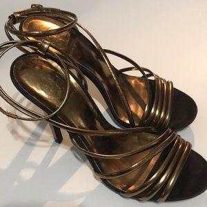 TORY BURCH SZ 8 1/2 Med strappy bronze brown heels